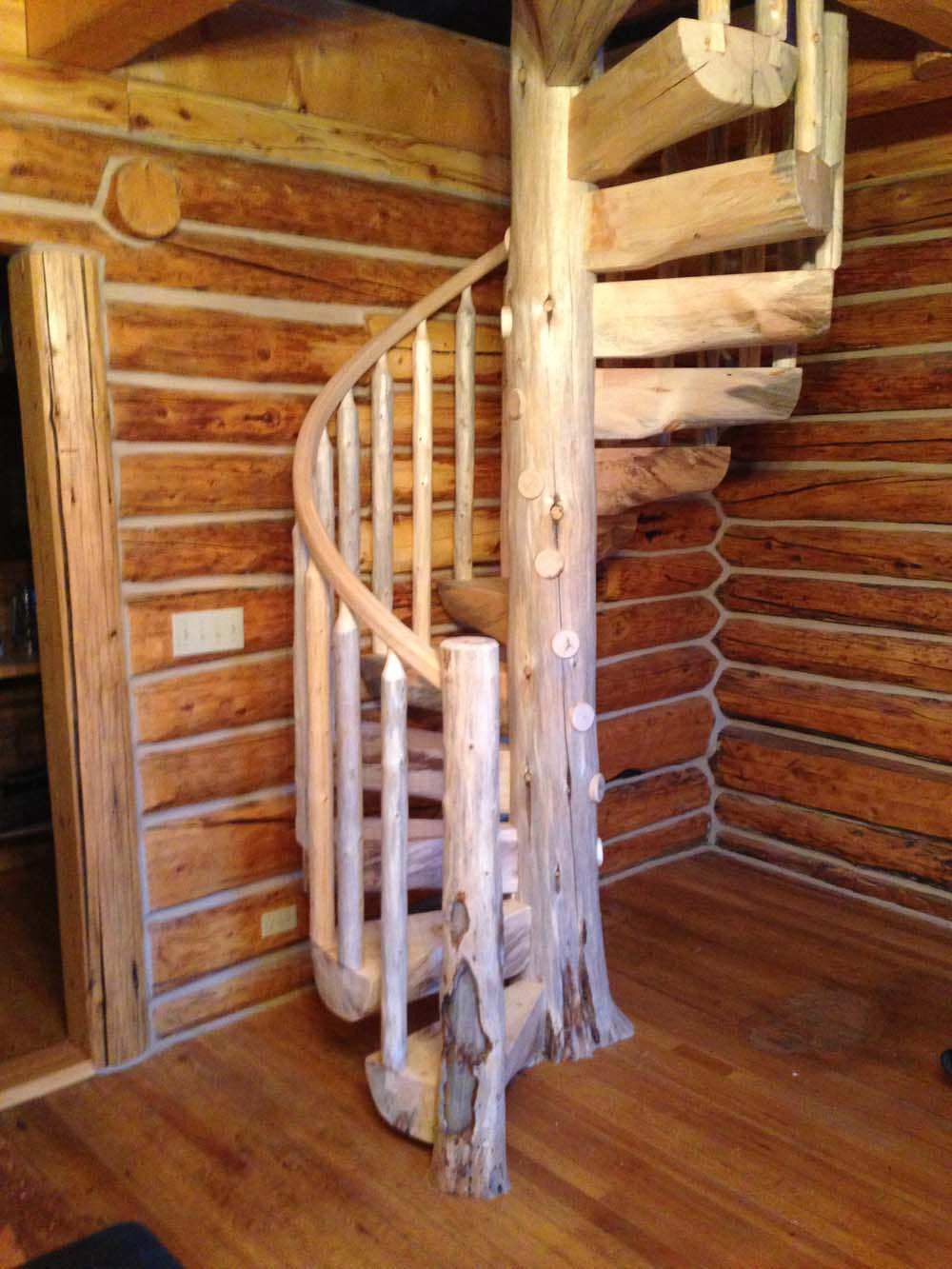 Custom Log Spiral Stairs. [click To View Full Size]